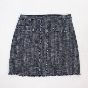 Banana Republic Womens Fringe Tweed Skirt Size 12